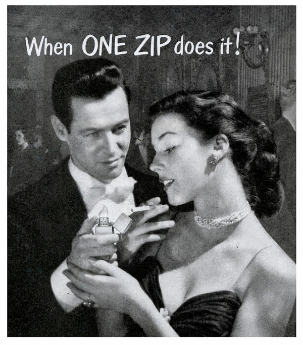 14 zippo One Zip is All it Takes – 21 Zippo Vintage Post war Ads