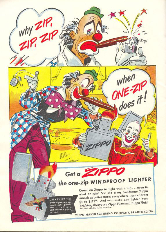 19 zippo One Zip is All it Takes – 21 Zippo Vintage Post war Ads
