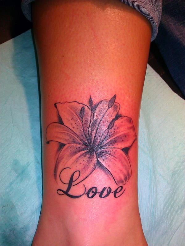 flower love ancle tattoo 30 Lovely Ankle Tattoos For Women