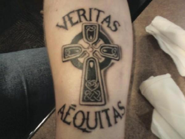 arm veritas aequitas 30 Boondock Saints Tattoos Which Are Really Awesome