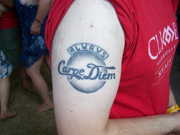 Bicep Carpe Diem Tattoo