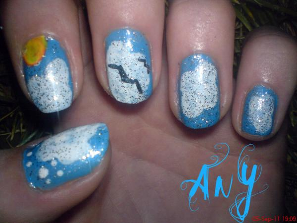 skycloud nail 45 Cute Nail Designs You Will Definitely Love