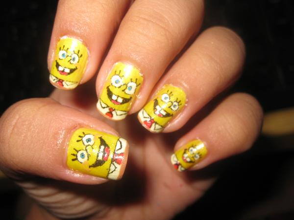 spongebob nail 45 Cute Nail Designs You Will Definitely Love