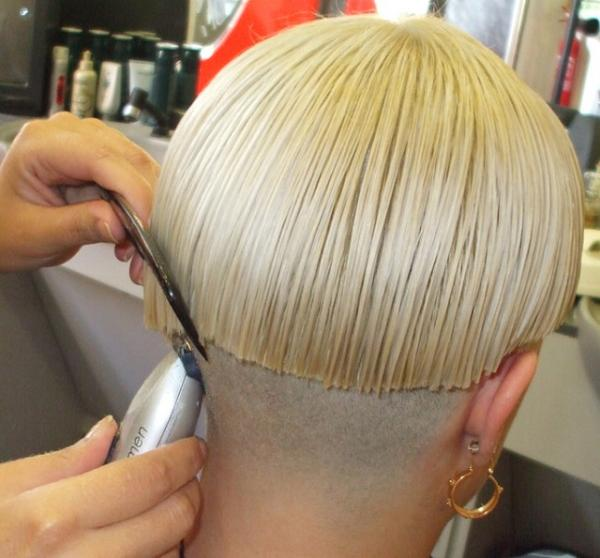 short nape stacked bob short bob haircut with a close