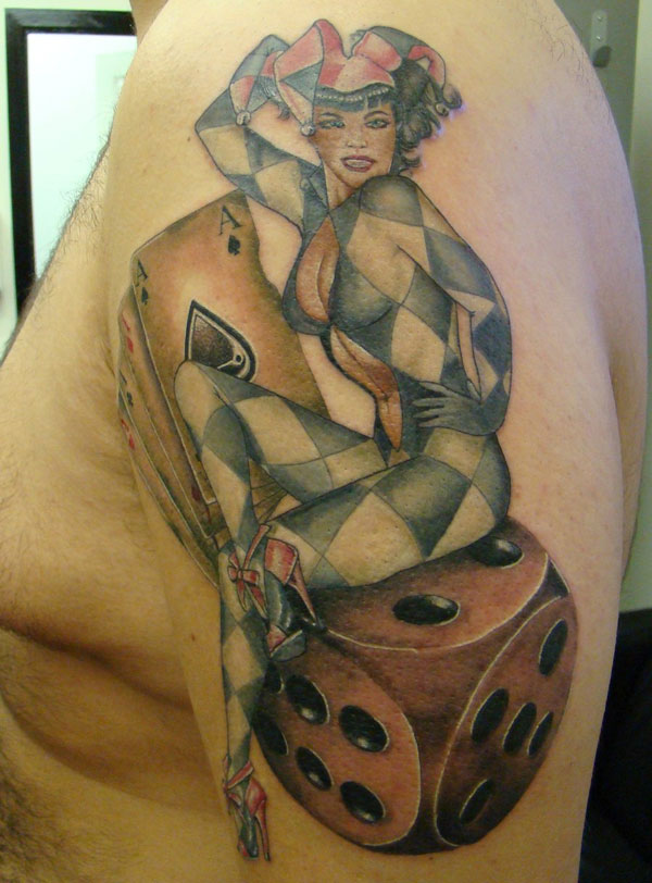 Ken Patten joker dice tattoo
