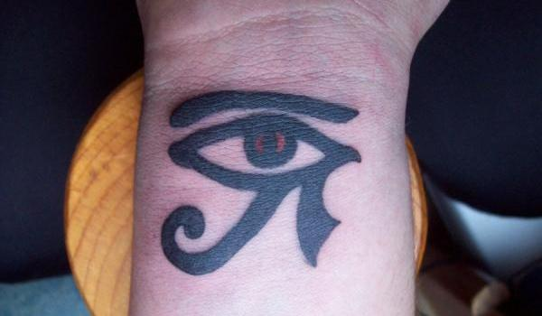 the inner wrist 25 Awesome Eye of Horus Tattoo Designs