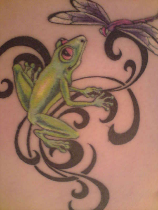 frog dragonfly 30 Brilliant Frog Tattoos
