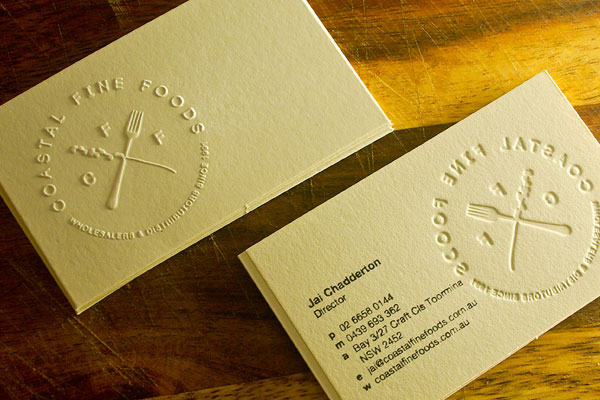 35 awesome letterpress business cards slodive coastal fine foods reheart Gallery