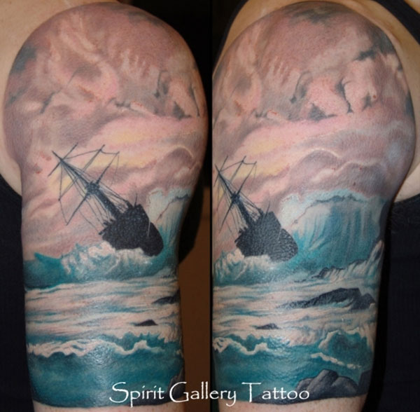 Ship Tattoo On Biceps