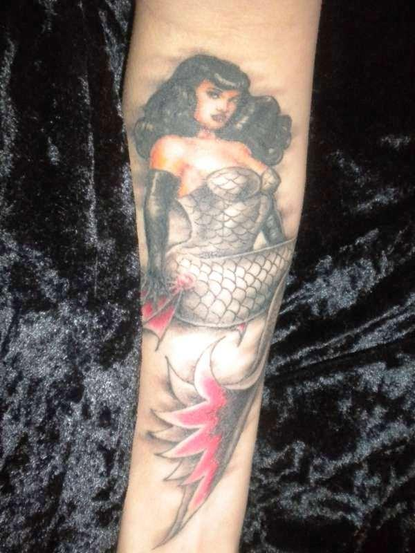 bettie page mermaid tattoo 35 Spectacular Mermaid Tattoos
