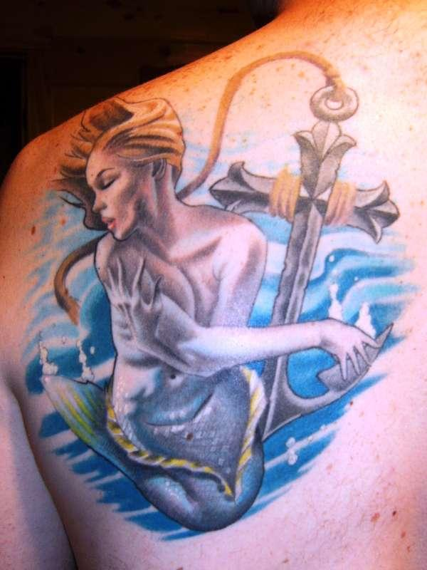 mermaid and anchor cross 35 Spectacular Mermaid Tattoos