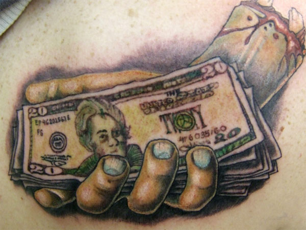 hand with money 35 Arresting Money Tattoos