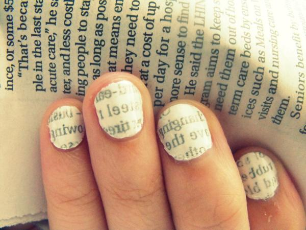 40 exciting nail polish designs slodive newspaper nail tutorial prinsesfo Gallery