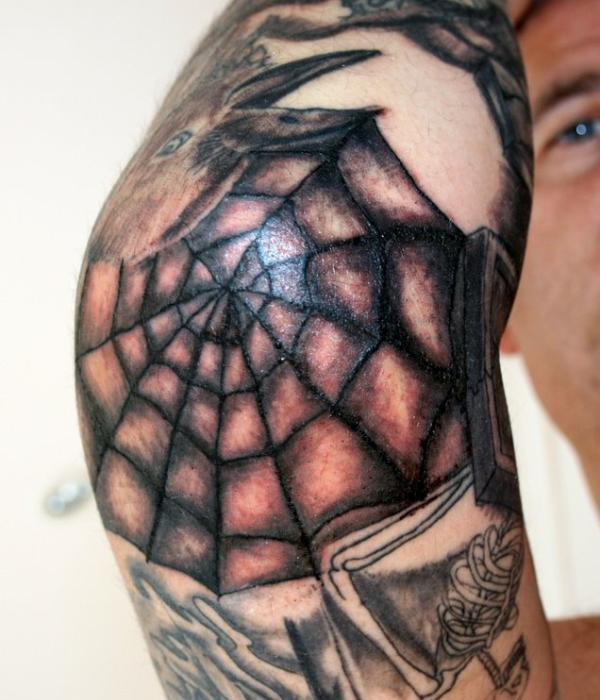 Elbow Spiderweb Tattoo