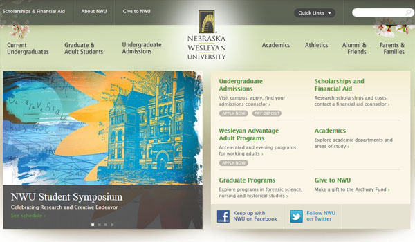 nerbaska wesleyan 30 University Website Designs