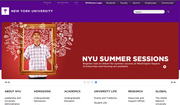 new york university 30 University Website Designs