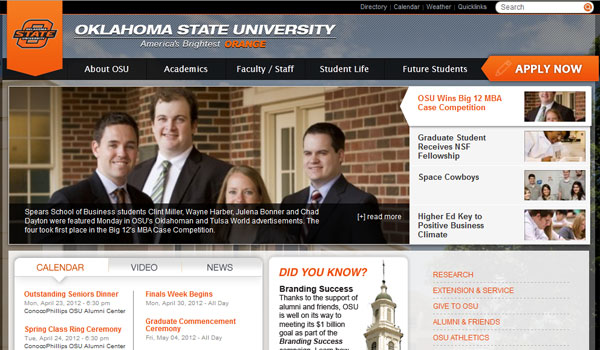 oklahoma state university 30 University Website Designs
