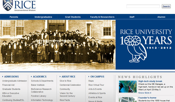 rice university 30 University Website Designs