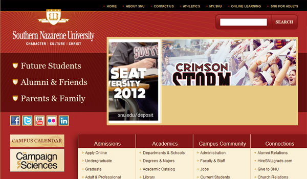 south nazarene 30 University Website Designs