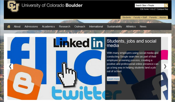 university of colorado 30 University Website Designs