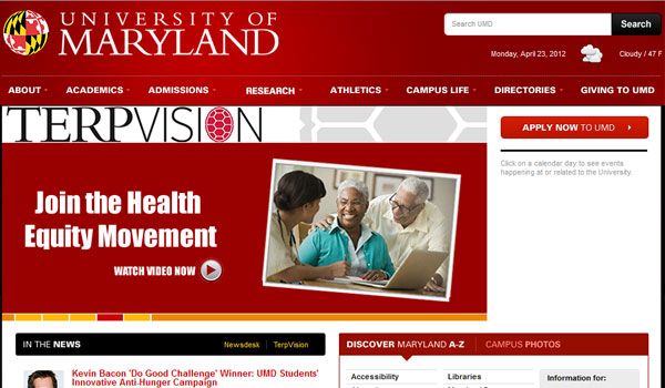 university of maryland 30 University Website Designs