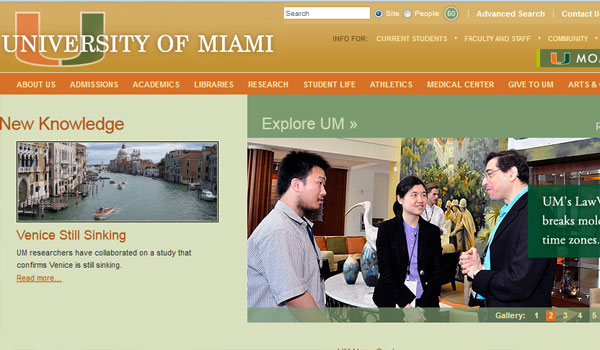 university of miami 30 University Website Designs