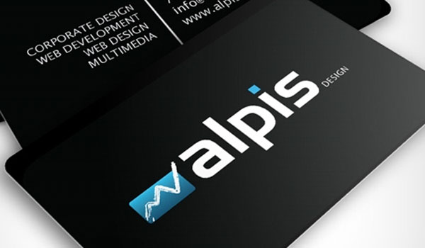 alpis design 30 Groovy Black Business Cards