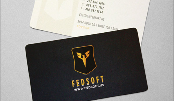 fedsoft 30 Groovy Black Business Cards