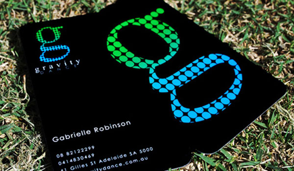 gravity dance 30 Groovy Black Business Cards