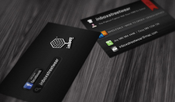 inbox card mockup 30 Groovy Black Business Cards
