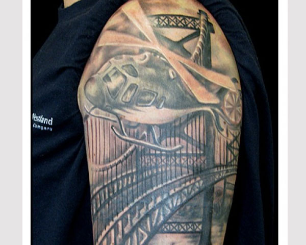 Helicopter Tattoo With Bridge Background