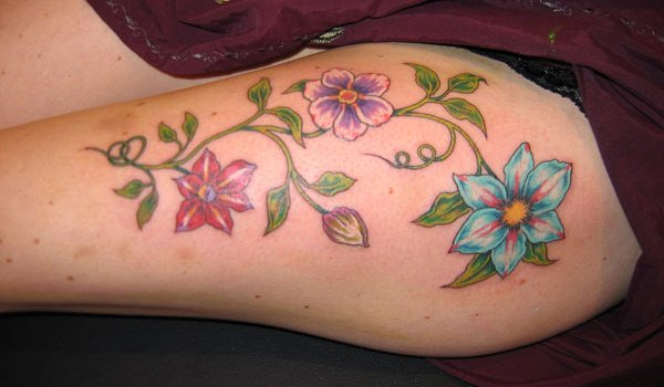 clematis tattoo 25 Amazingly Colorful Tattoos