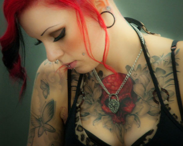 Skull Chest Tattoos For Women
