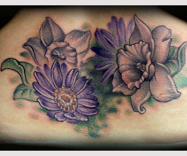aster daffodil tattoo 20 Wonderful Daffodil Tattoo Designs