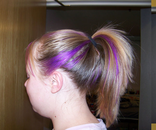Purple Streaked Ponytail