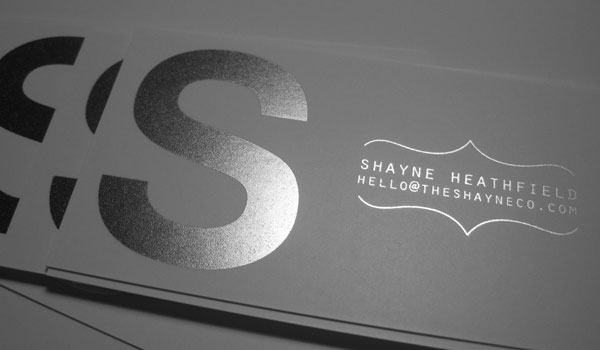 shane heathfield business card 30 Fresh Business Cards For Your Inspiration
