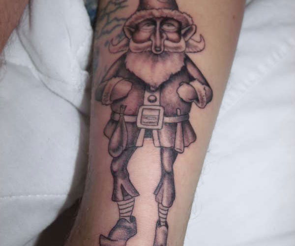 gnome on leg 20 Spectacular Gnome Tattoo Designs