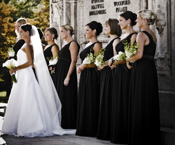 black dress 30 Beautiful Hairstyles For Bridesmaids