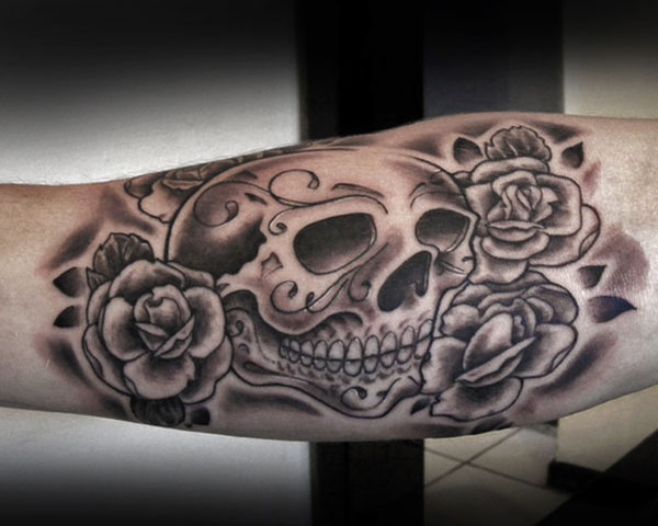 Rose Sugar Skull Tattoo
