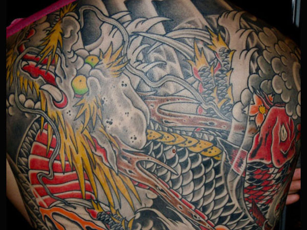 Koi Dragon Back Tattoo