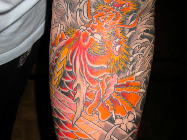 Japanese Dragon In Inner Forearm