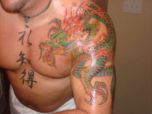 Kanji And Japanese Dragon