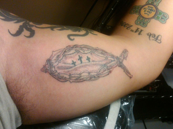 left inner bicep 25 Awe Inspiring Jesus Fish Tattoos