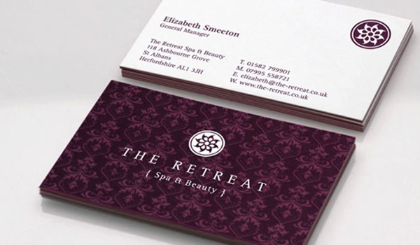 spa identity card 30 Purple Business Cards For Your Inspiration
