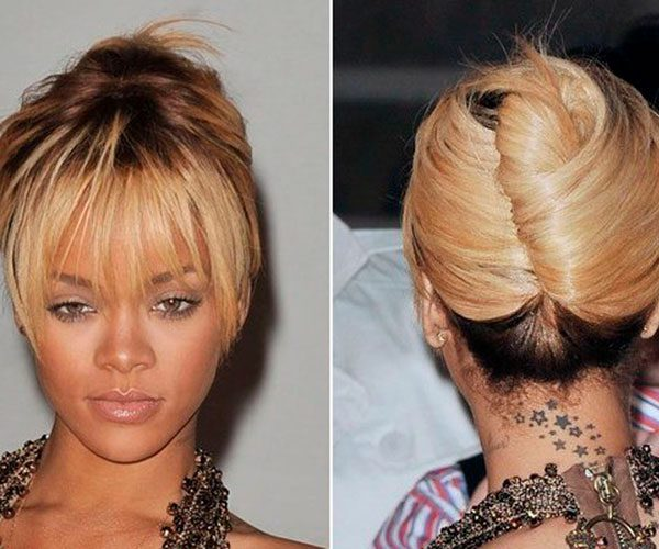 Rihanna Hairstyles of French Twist
