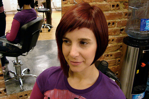 Dyed Hairstyles for Short Hair with Bangs