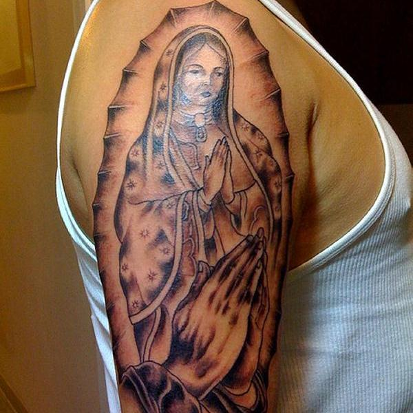 Virgin Mary Sleeve Tattoo
