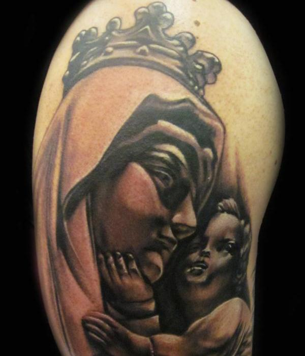 Mary Statue Tattoo
