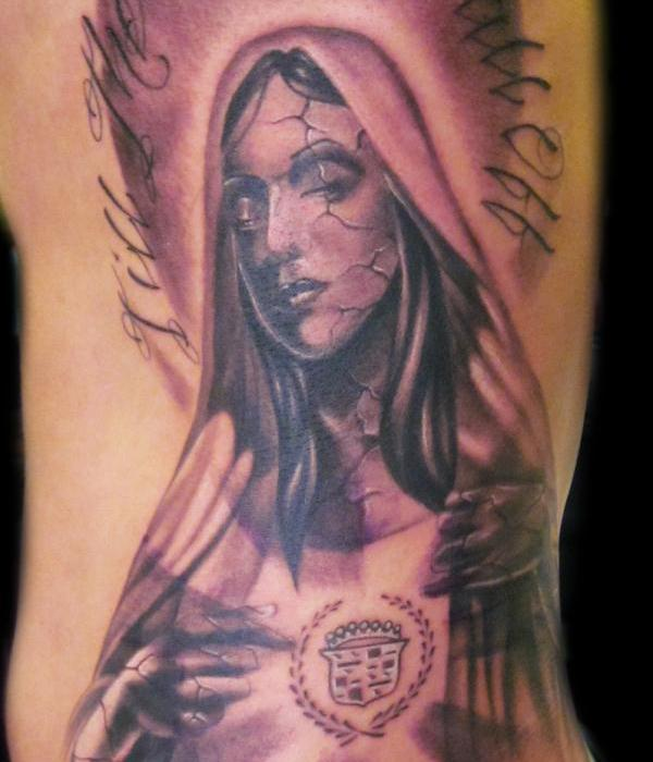 Virgin Mary Cadillac Tattoo