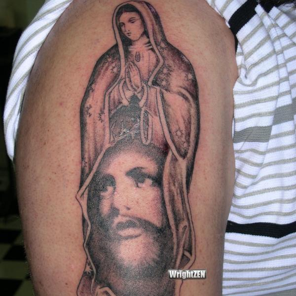 Virgin Mary Jesus Portrait Tattoo